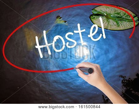 Woman Hand Writing Hostel With Marker Over Transparent Board