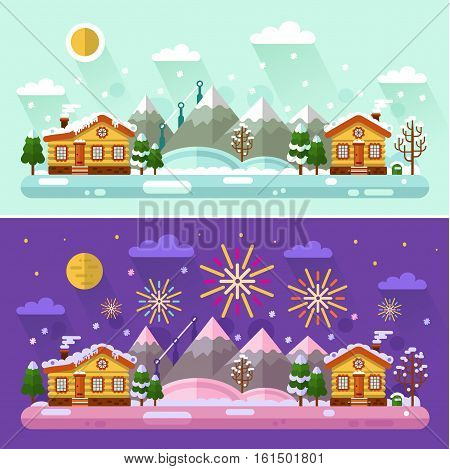 Flat design vector Day and Night winter landscape illustration with sky full of firework lights, cartoon village, sun, moon, snowfall, mountain. Happy Holidays and Merry Christmas concept.