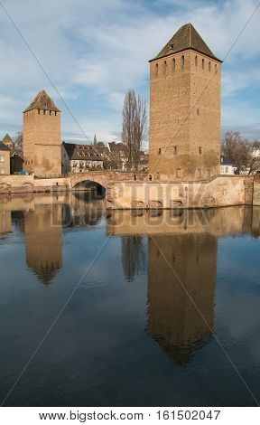 Covered bridge, in the petite france, Strasbourg, Bas-Rhin, Alsace, France