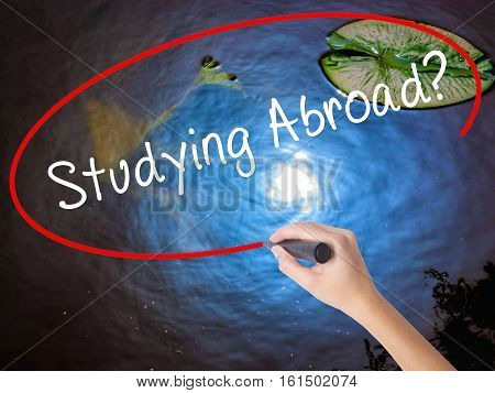 Woman Hand Writing Studying Abroad? Marker Over Transparent Board
