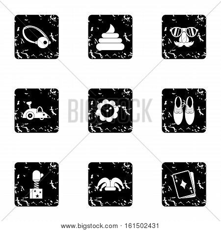 First of April icons set. Grunge illustration of 9 first of April vector icons for web