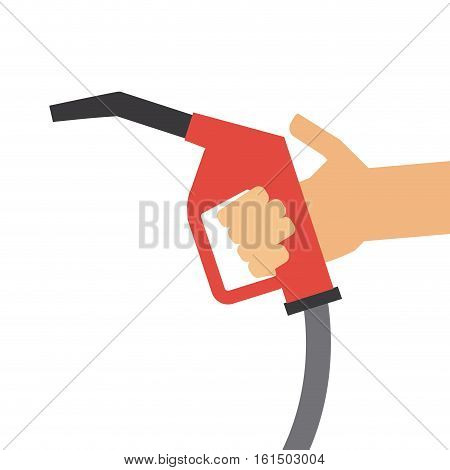 hand holding a gas pump nozzle icon over white background. colorful design. vector illustration