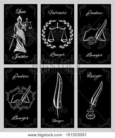vector set of templates and design elements for lawyers business cards
