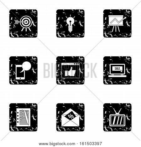 Types of advertising icons set. Grunge illustration of 9 types of advertising vector icons for web