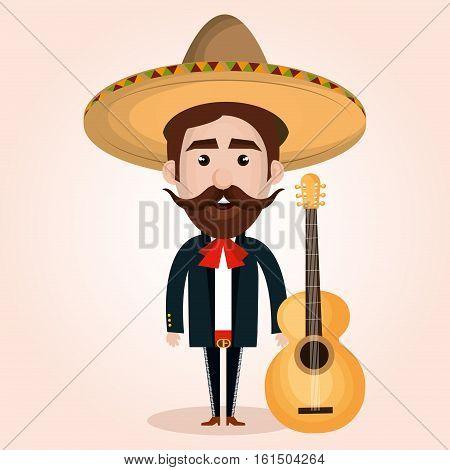 mexican mariachi character classic vector illustration design