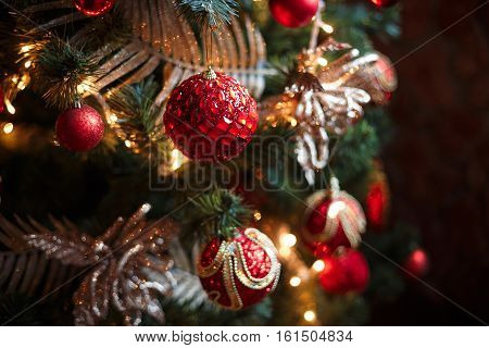 Red And Yellow Christmas Tree Decorations