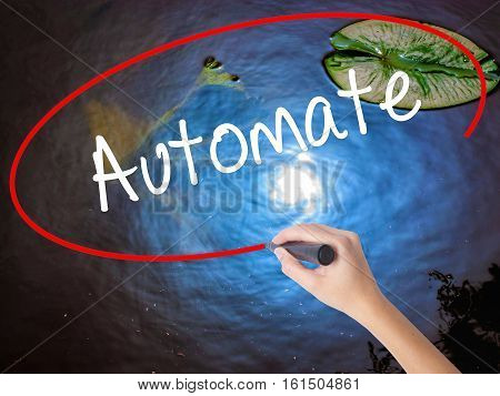 Woman Hand Writing Automate With Marker Over Transparent Board