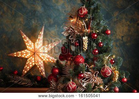 Christmas Tree With Red And Yellow Decorations