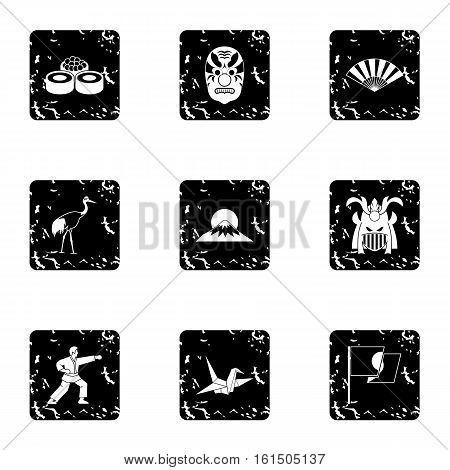 Holiday in Japan icons set. Grunge illustration of 9 holiday in Japan vector icons for web