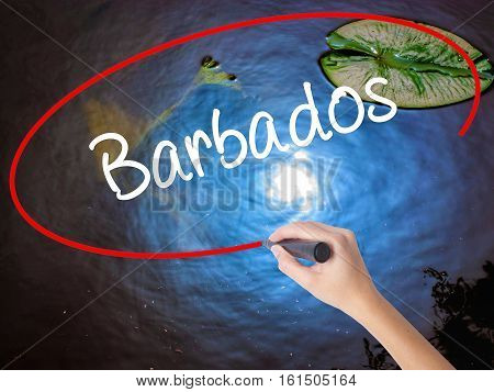 Woman Hand Writing Barbados  With Marker Over Transparent Board