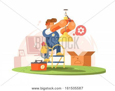 Male electrician connects chandelier in room on ceiling. Vector illustration