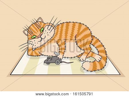 The cat is on the Mat and having fun with a mechanical mouse.