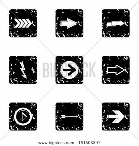 Types of arrows icons set. Grunge illustration of 9 types of arrows vector icons for web