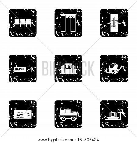 Flying on plane icons set. Grunge illustration of 9 flying on plane vector icons for web