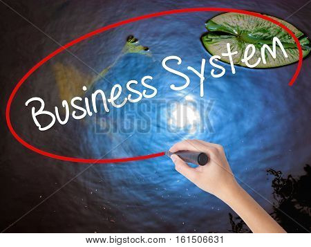 Woman Hand Writing Business System With Marker Over Transparent Board.