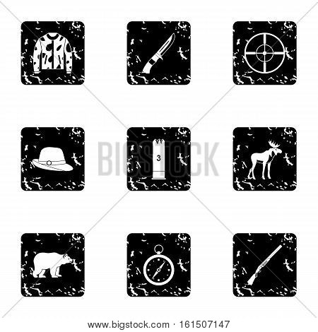 Hunting icons set. Grunge illustration of 9 hunting vector icons for web