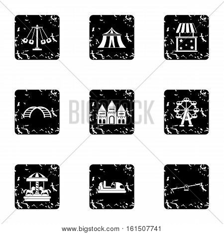 Children rides icons set. Grunge illustration of 9 children rides vector icons for web
