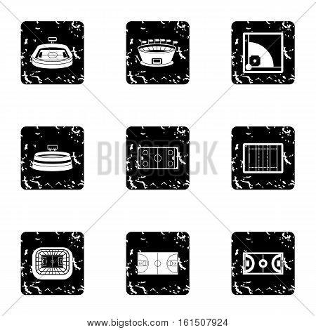 Stadium icons set. Grunge illustration of 9 stadium vector icons for web