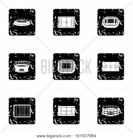 Sports stadium icons set. Grunge illustration of 9 sports stadium vector icons for web