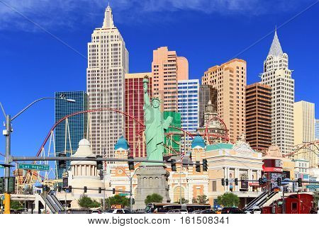 LAS VEGAS - OCTOBER 26, 2015:Famous New York New York casino-hotel on October 26, 2015 in Las Vegas . The  hotel recreates the famous New York skyline with a model of the Statue of Liberty.