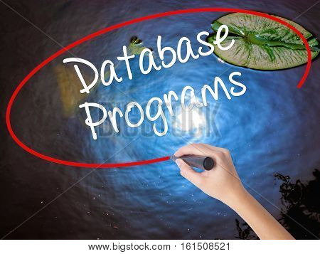 Woman Hand Writing Database Programs With Marker Over Transparent Board.