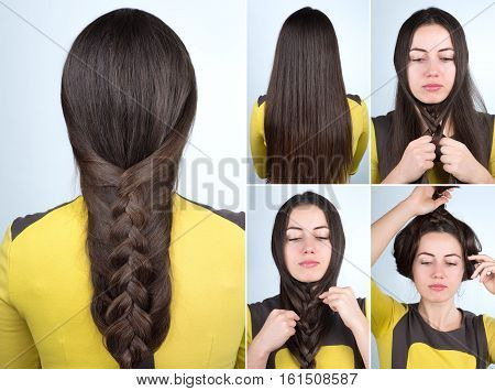 simple braid hairstyle tutorial. Plait hairstyle for long hair. Fast hairstyle for self tutorial step by step. Hair tutorial