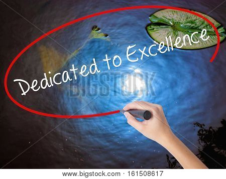Woman Hand Writing Dedicated To Excellence  With Marker Over Transparent Board