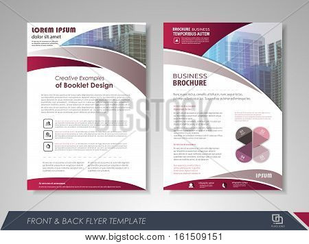 Purple annual report brochure flyer design template. Leaflet cover presentation abstract background for business magazines posters booklets banners. Layout in A4 size. Easily editable vector format.