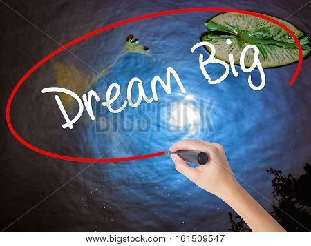 Woman Hand Writing Dream Big  With Marker Over Transparent Board
