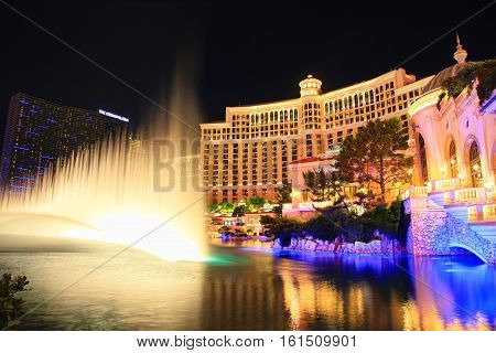 LAS VEGAS - OCTOBER 26, 2015:Famous  Bellagio resort and casino on October 26, 2015 in Las Vegas . Fountains of Bellagio, which have featured in several movies, is a large dancing water fountain.