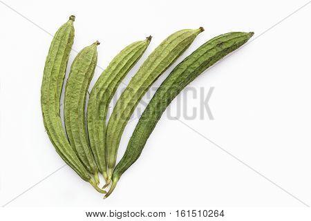 Ridged gourd or angled luffa (Luffa acutangula) on a white background