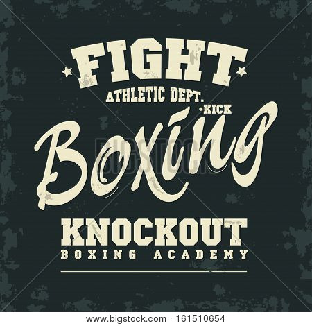 Boxing t-shirt print. Fight Boxing Knockout lettering. Print for sportswear apparel vintage typography. Vector illustration
