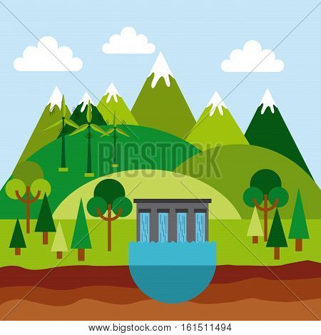 green landscape with water dam and wind turbines icons. colorful design. vector illustration