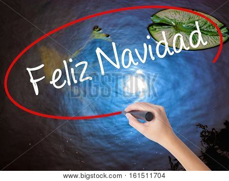 Woman Hand Writing Feliz Navidad  (merry Christmas In Spanish) With Marker Over Transparent Board