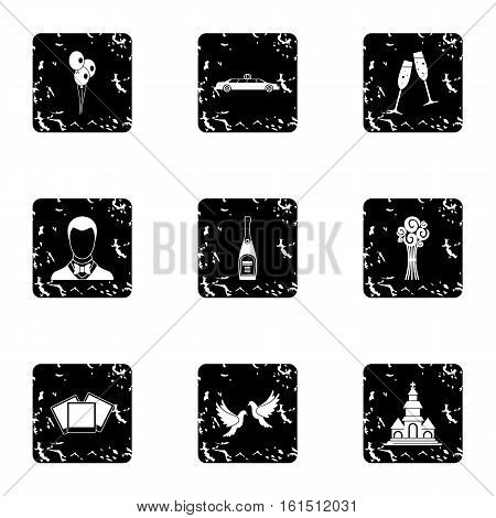 Wedding ceremony icons set. Grunge illustration of 9 wedding ceremony vector icons for web