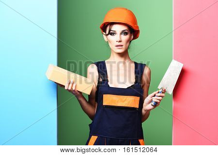 Serious Cute Sexy Builder Girl