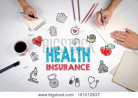 Health insurance concept. Healty lifestyle background. The meeting at the white office table.