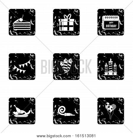 Birthday party icons set. Grunge illustration of 9 birthday party vector icons for web