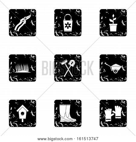 Farming icons set. Grunge illustration of 9 farming vector icons for web