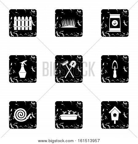 Garden icons set. Grunge illustration of 9 garden vector icons for web