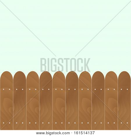 Banner with rounded wooden fence. Wood garden fence vector. old wooden fence illustration