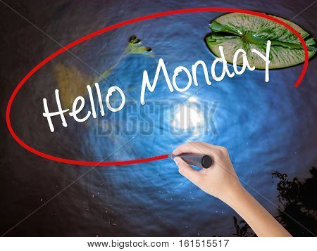 Woman Hand Writing Hello Monday With Marker Over Transparent Board