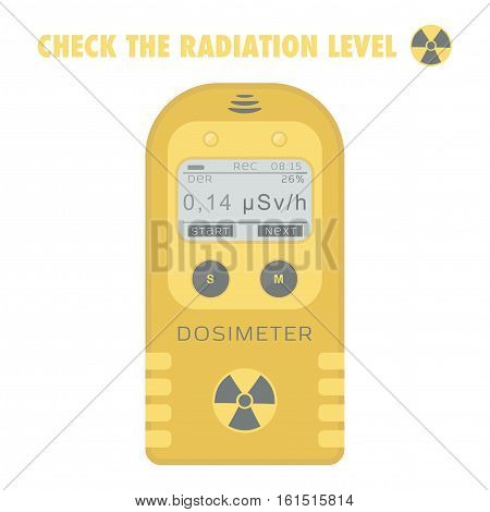 Gamma Radiation Personal Dosimeter. Check the radiation level. Vector illustration.