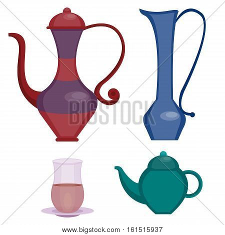 Oriental cafe tea and coffee set. Teapot and glasses, pitcher. Arabian Coffee break. Vector illustration, cartoon style