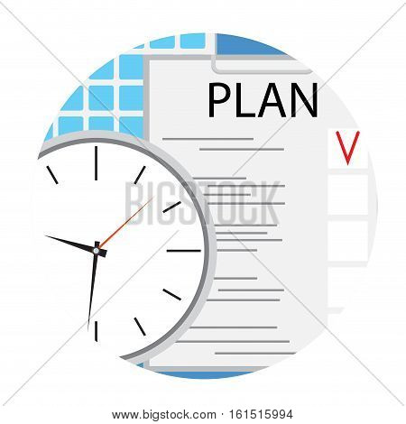 Business plan icon round flat vector. Plane and strategy. planning process schedule. illustration of strategic planning