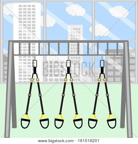 gym room. Frame with hanging belt for stretch and training strap to power and endurance. Vector illustration