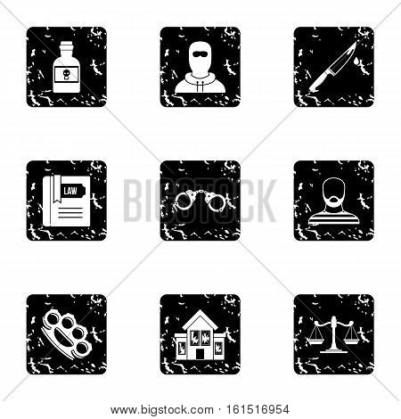 Lawlessness icons set. Grunge illustration of 9 lawlessness vector icons for web