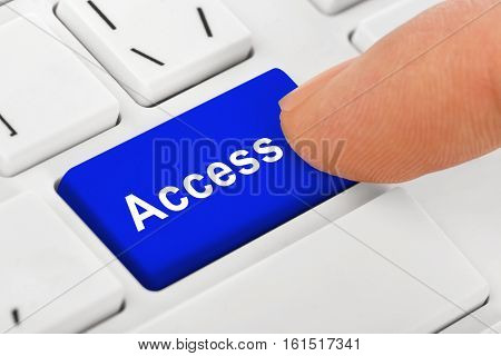 Computer notebook keyboard with Access key - technology background - 3D illustration
