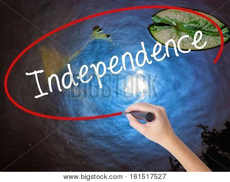 Woman Hand Writing Independence  With Marker Over Transparent Board.