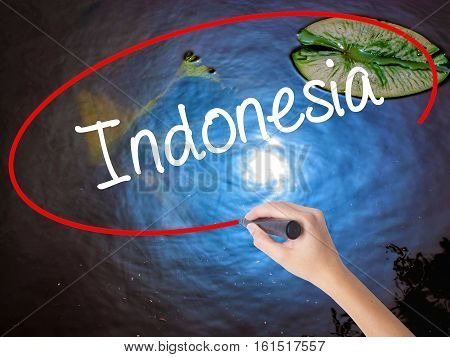 Woman Hand Writing Indonesia  With Marker Over Transparent Board